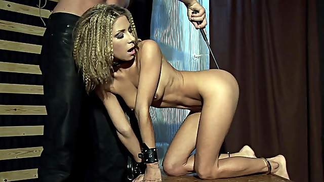 Skinny blonde plays submissive for the big dick