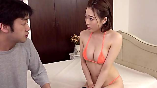 Japanese soaks boobs in sperm after romantic sex